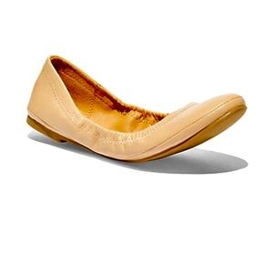 NY&C Vegan Leather Ballet Flats, Tan/Nude, Sz 10